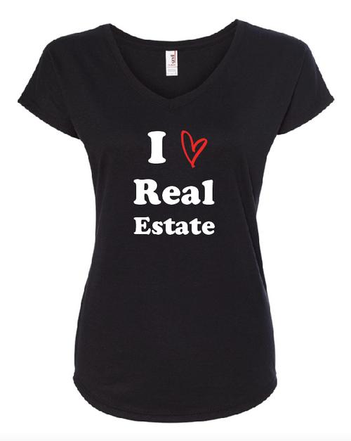 """""""I Love Real Estate"""" Women's V Neck T-Shirt"""