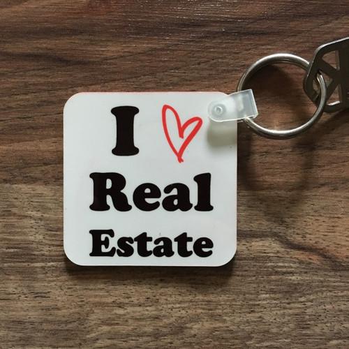 I Heart Real Estate Key Tag