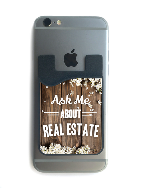 """""""Ask Me About Real Estate"""" Blossoms Phone Wallet - 03"""