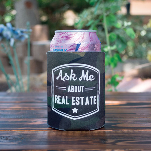 """""""Ask Me About Real Estate"""" Camo Koozie"""