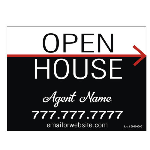 Open House Directional Sign - Red Arrow