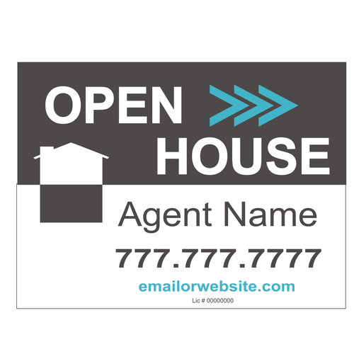 Open House Directional Sign - Grey / White House