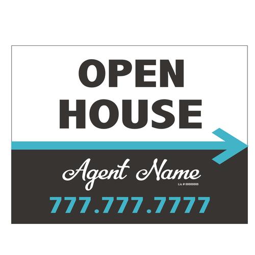 Open House Directional Sign - Grey w/Aqua Arrow