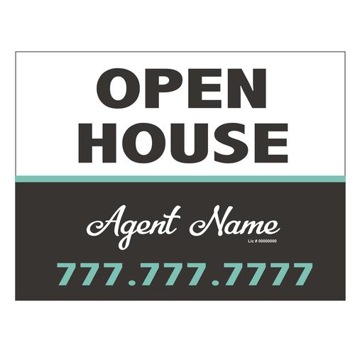 Open House Sign - Grey & Aqua