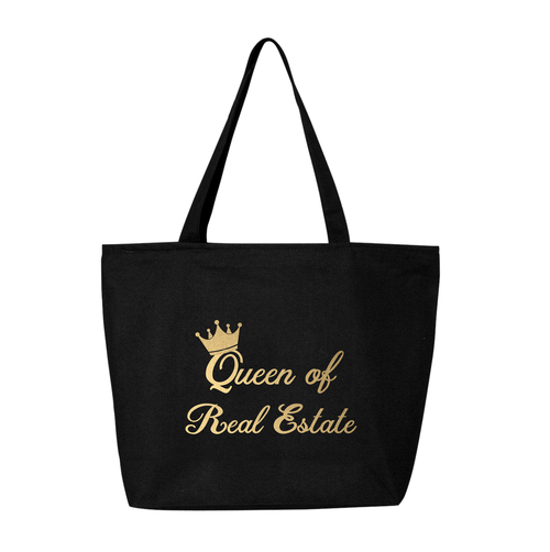 Queen Of Real Estate Gold Foil Jumbo Canvas Zip Tote