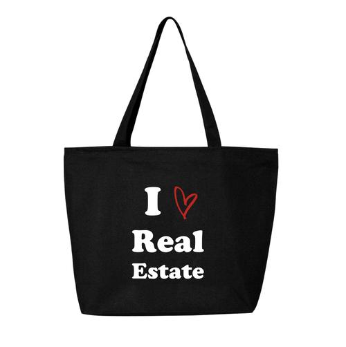 I Heart Real Estate Jumbo Canvas Zip Tote