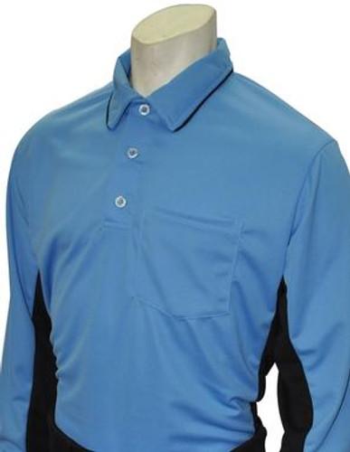 """MLB"" Blue Umpire Shirt w/Black Side Panel L/S"