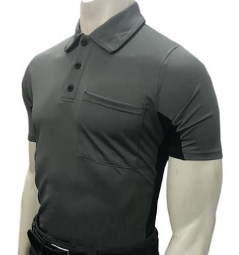 """MLB"" Body Flex Charcoal Umpire Shirt w/BK Side Panel"