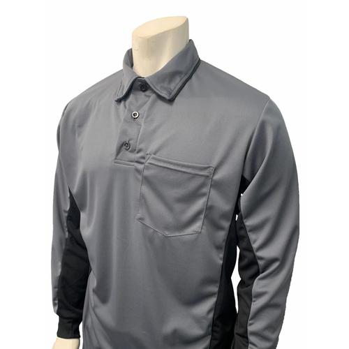 """MLB"" Charcoal Umpire Shirt w/Black Side Panel L/S"