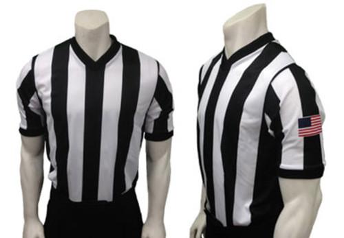 """Smitty V-Neck Shirt with 2 1/4"""" Black & White Stripes"""