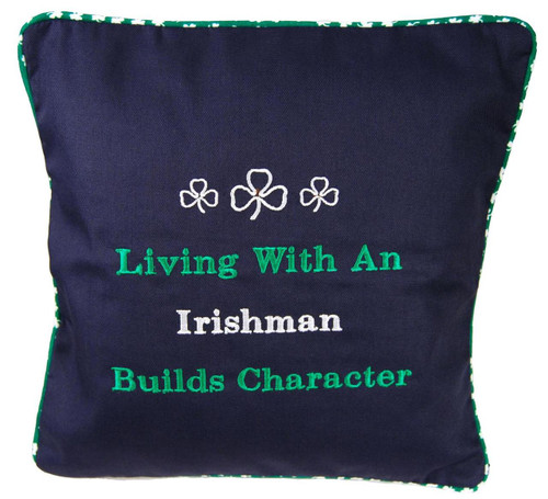 "Embroidered ""Irishman"" pillow"