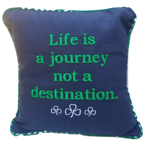 Enjoy your journey. Embroidered pillow, removable cover for washing, USA. 12x12