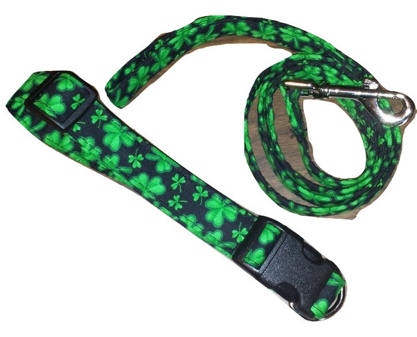 The collars come in S, M, & L.  The leashes come in S or L both are 4'.