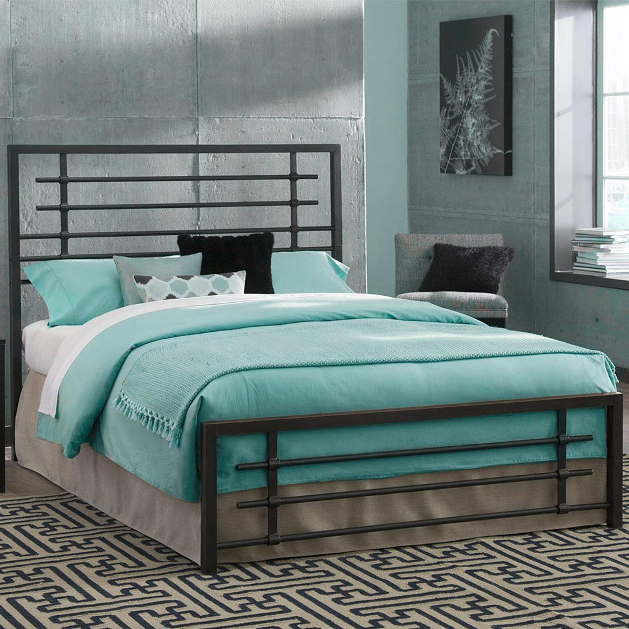 Metal Bed Frame Carbon Steel With Rustic Pewter Finish Folding Bed Frame