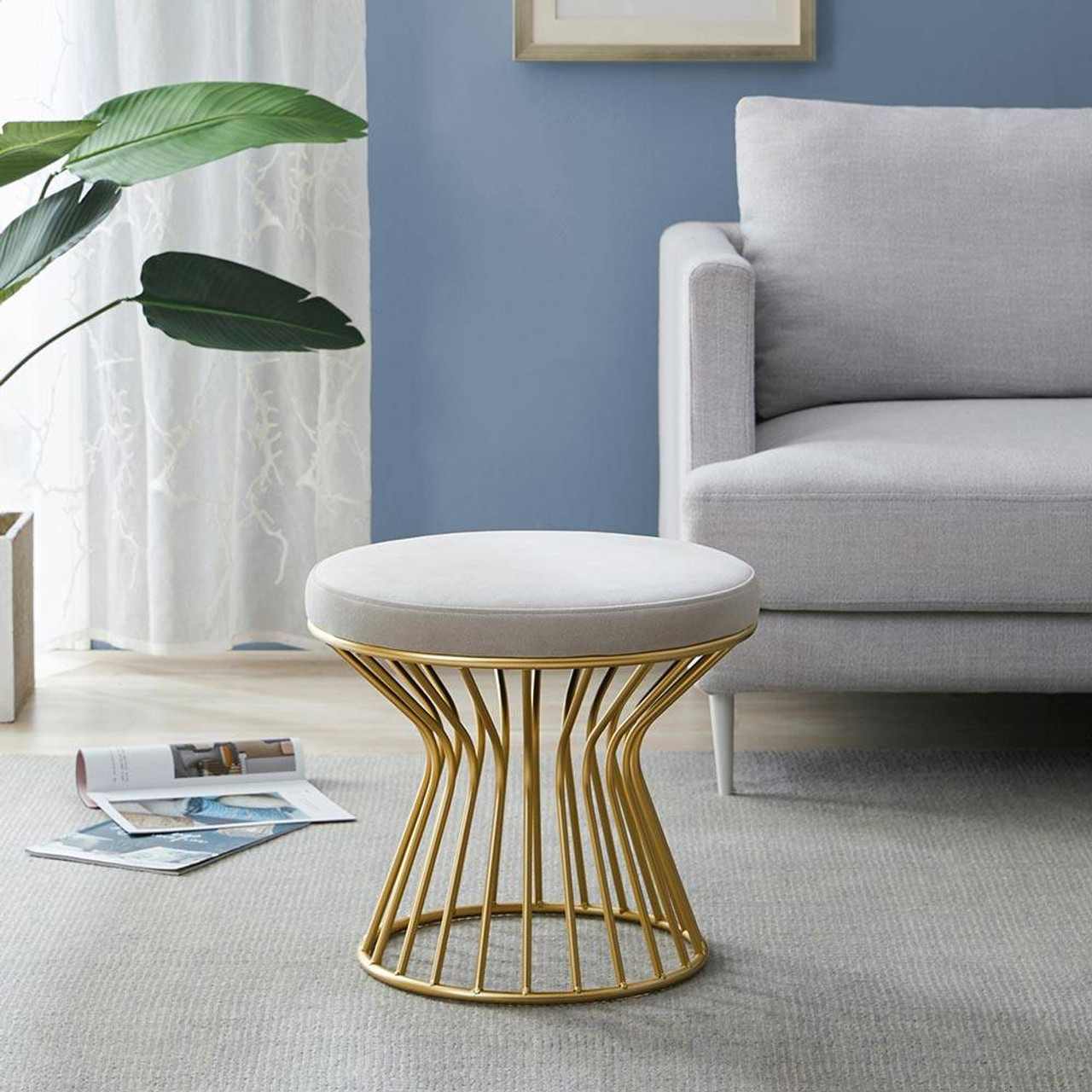 Stupendous Modern Round Velvet Ottoman Stool W Gold Metal Base Caraccident5 Cool Chair Designs And Ideas Caraccident5Info