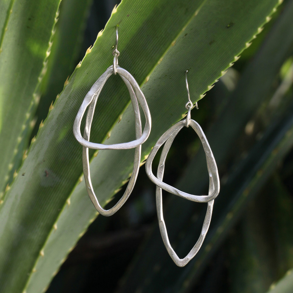 Silver drop earrings with sterling silver posts