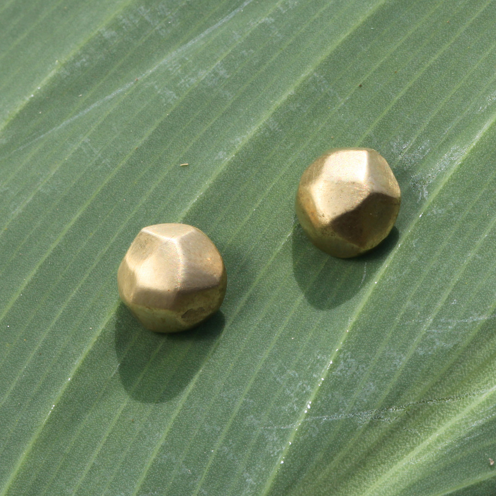 Faceted brass stud earrings with sterling silver posts