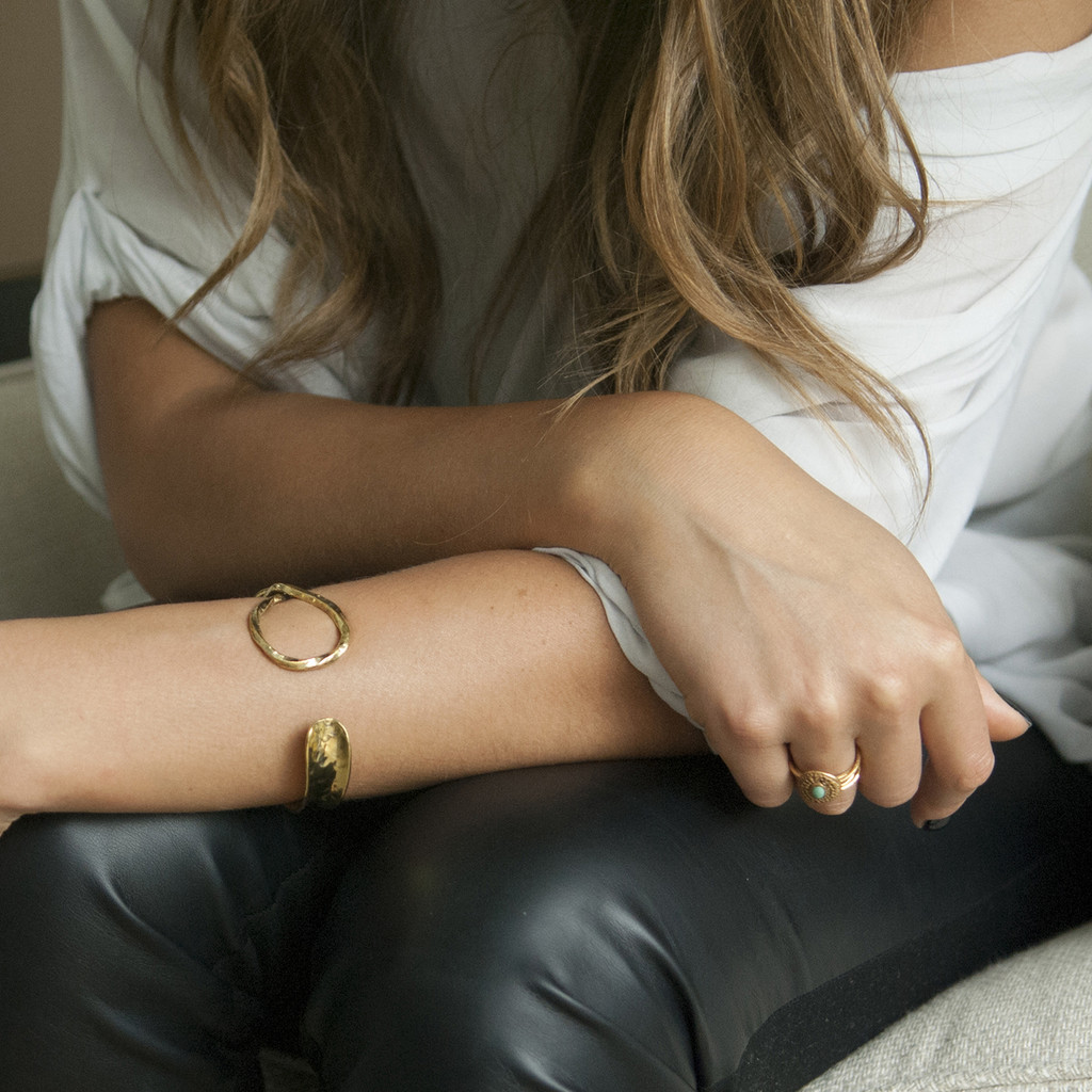 Brass cuff bracelet with twist detail
