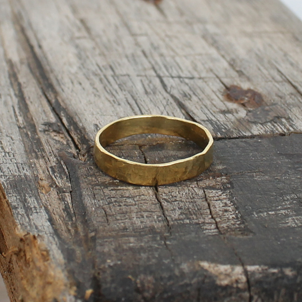 14 carat gold plated sterling silver hammered stacking ring