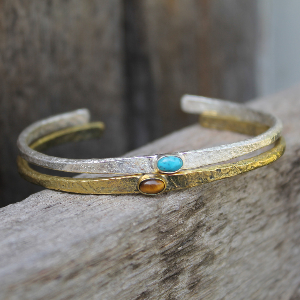 Brass thin cuff with tiger's eye inset stone and silver thin cuff with turquoise inset stone