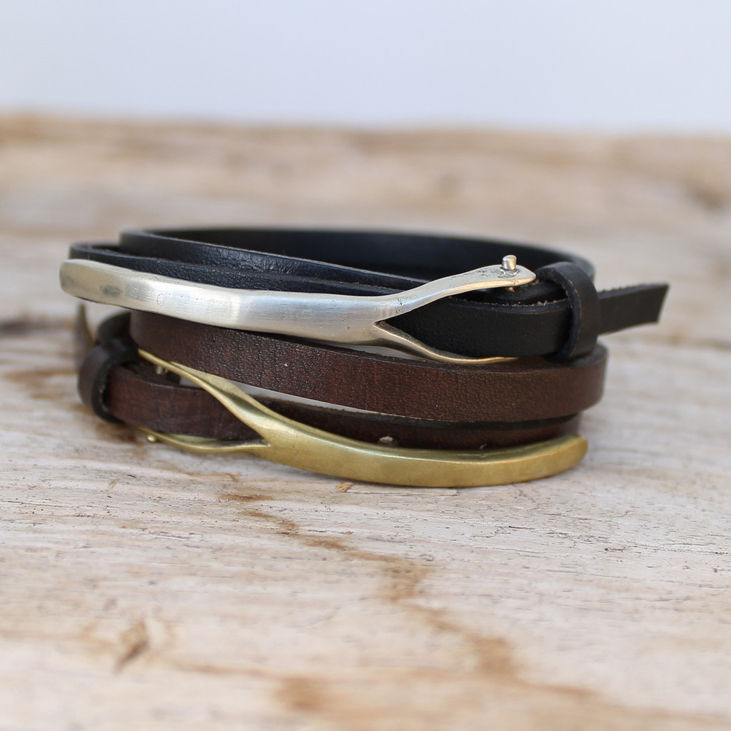 Silver bronze or brass closures on mens leather wrap bracelets