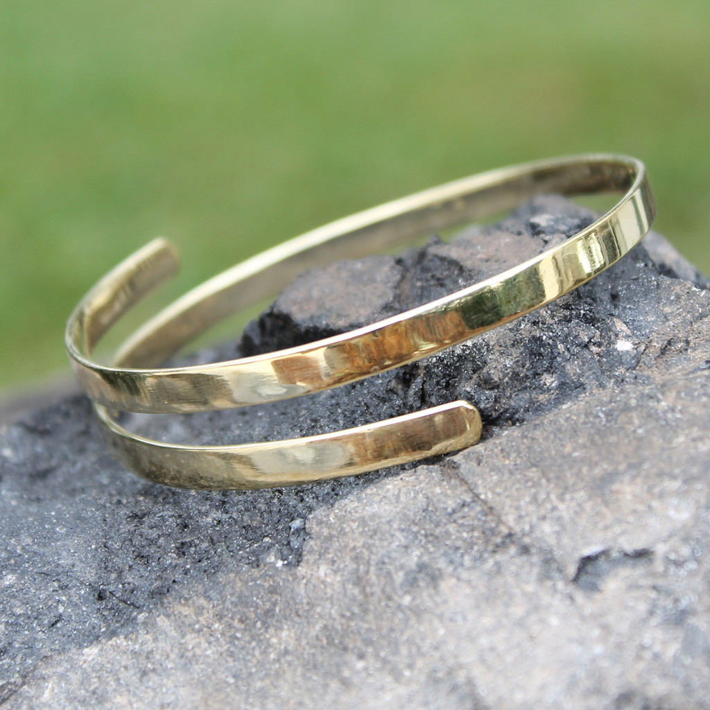 Polished brass wrap bangle without wording