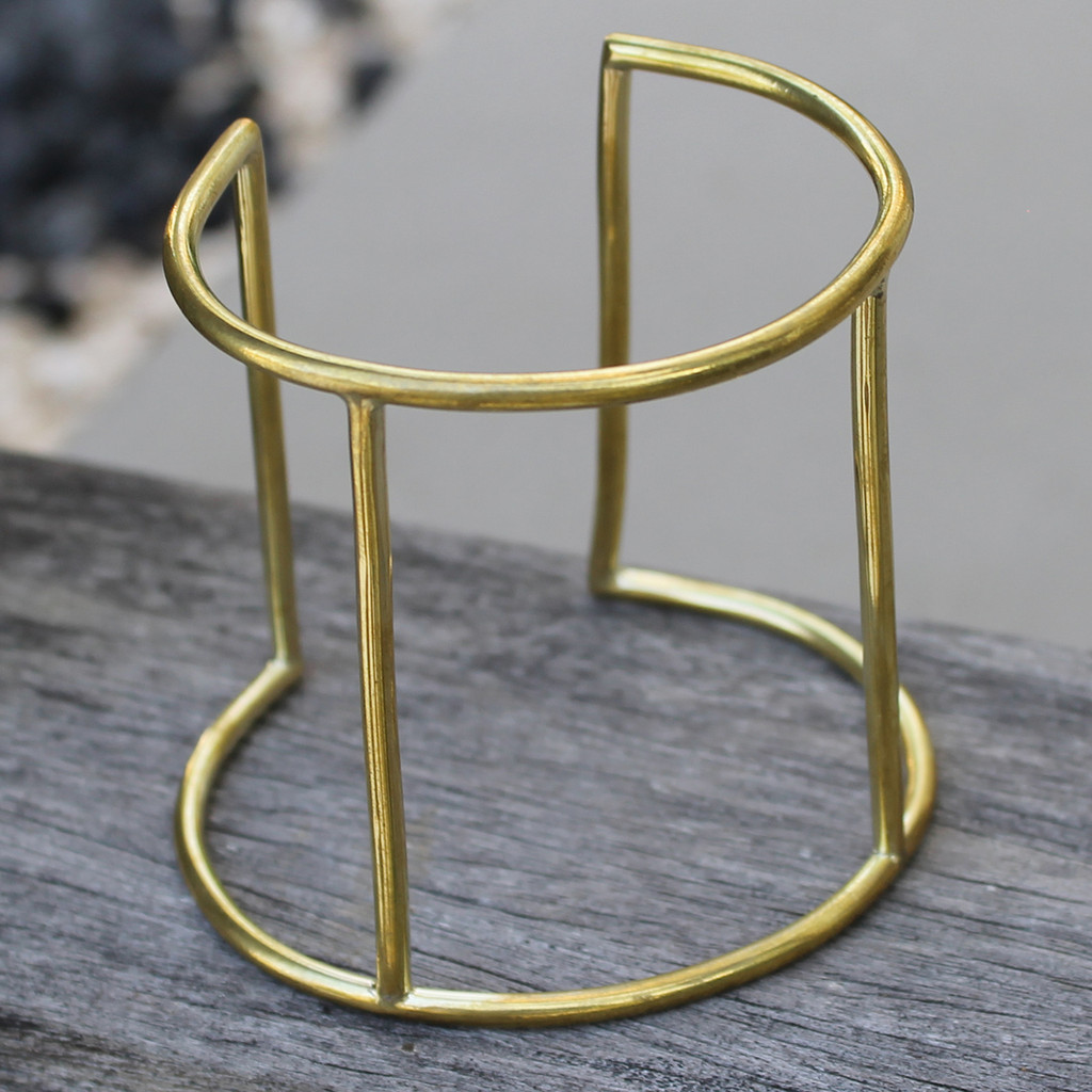 minimalist brass statement cuff