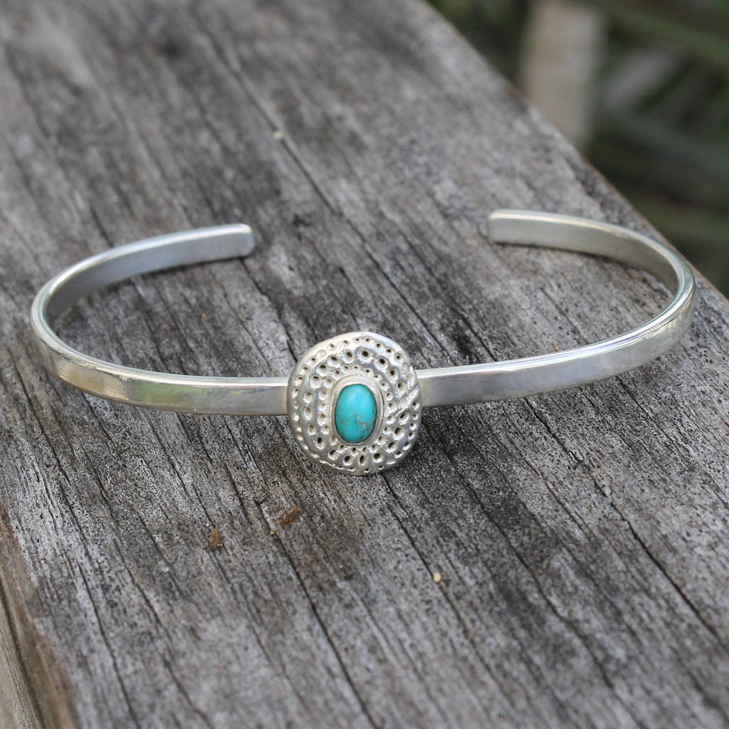 adjustable silver bracelet with turquoise stone detailing