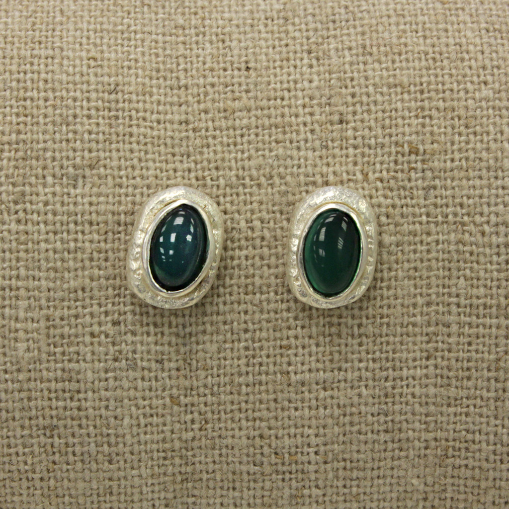 silver plated brass earrings with green agate stone detailing