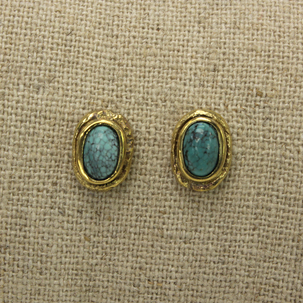 brass earrings with turquoise stone detailing