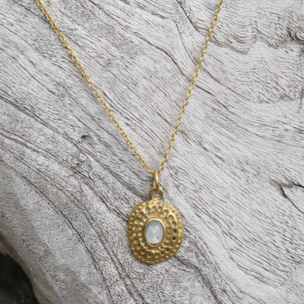 gold filled delicate chain necklace with moonstone detailing