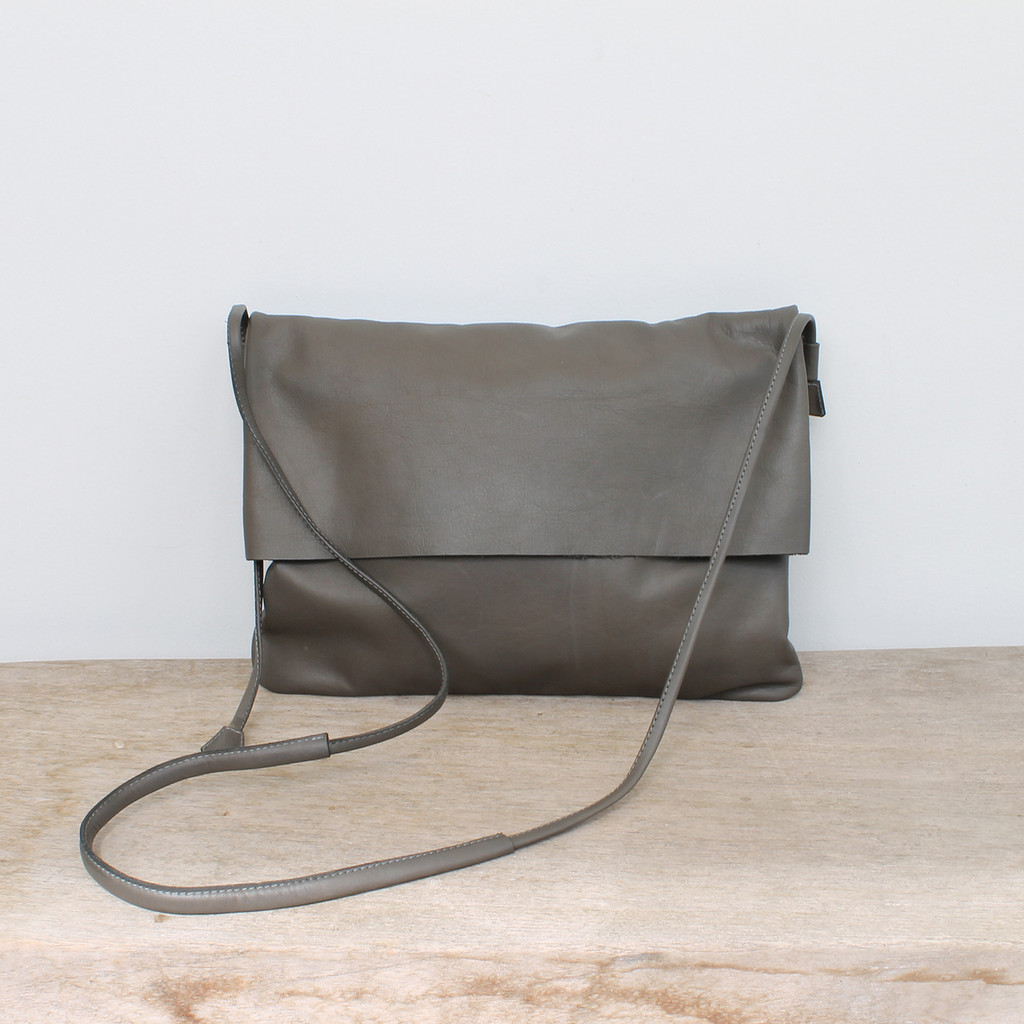 3d88147b0f73 grey genuine leather fold over crossbody bag with minimalist adjustable  strap Click here to enlarge