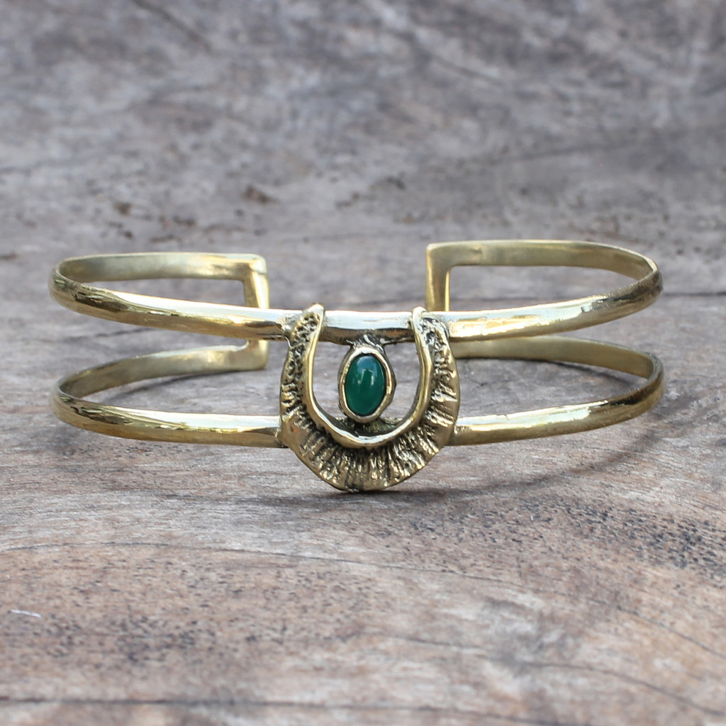 textured adjustable brass cuff with green agate stone detail