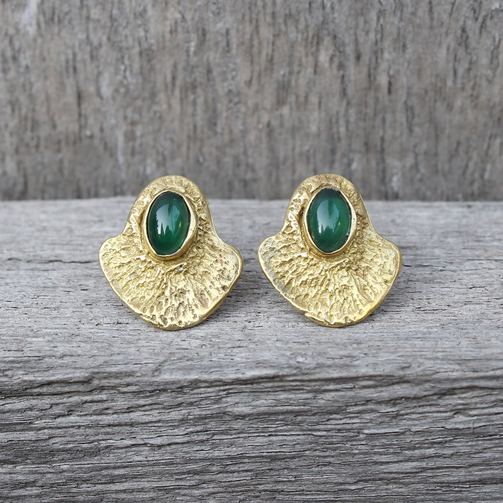 brass textured studs with a bold bezel and green agate stone detail