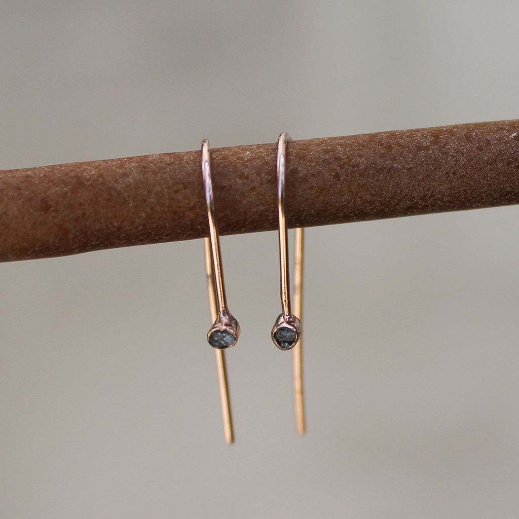 rose gold plated sterling silver hook earrings with raw diamonds