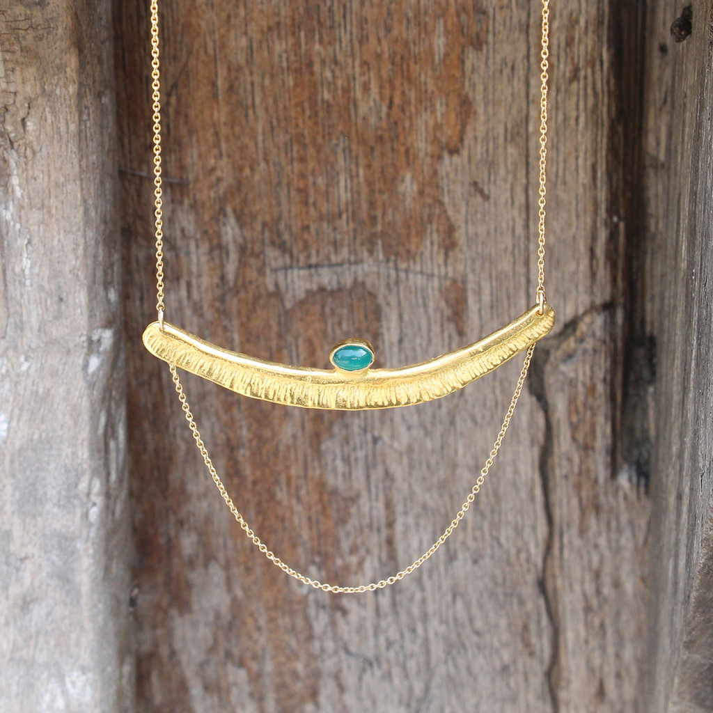 Textured bar with green agate stone detailing and multi-length gold-filled chain