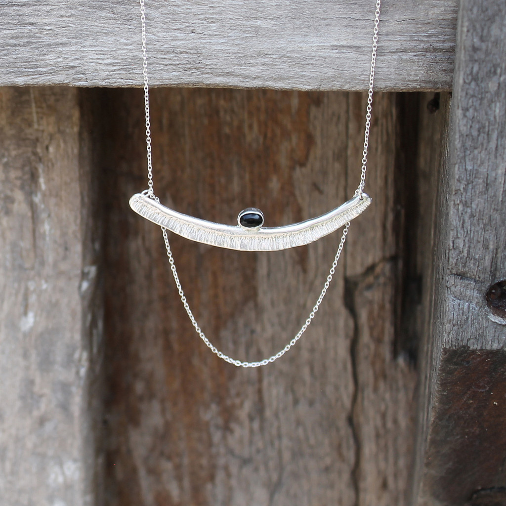 Textured bar with black onyx stone detailing and multi-length sterling silver chain