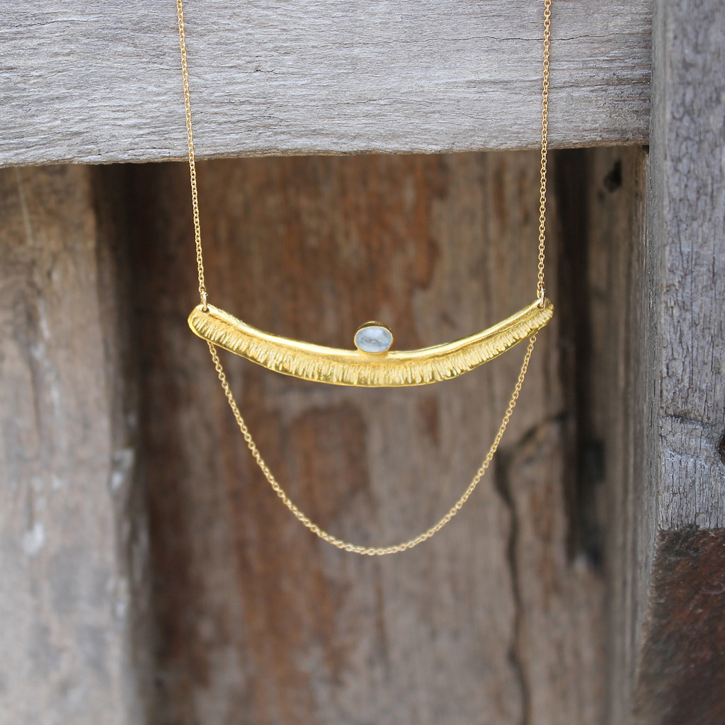 Textured bar with moonstone detailing and multi-length gold-filled chain