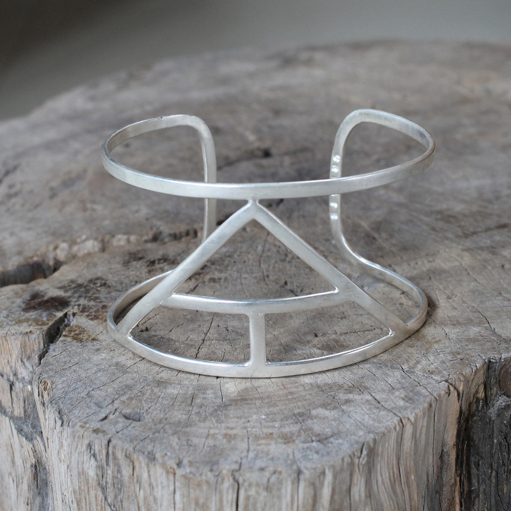 silver statement cuff featuring Create glyph symbol