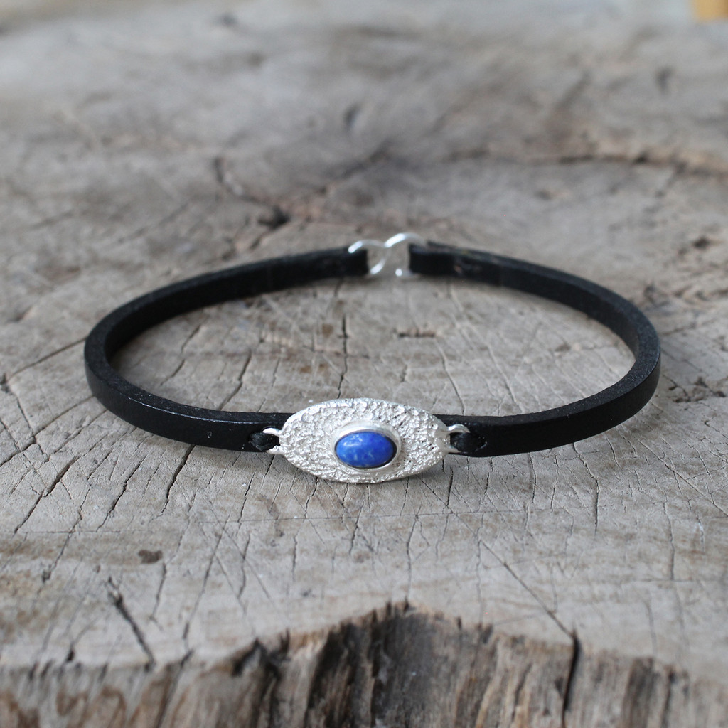 black leather bracelet with silver and lapis lazuli detailing