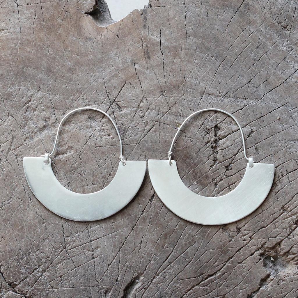 Statement silver hoop earrings