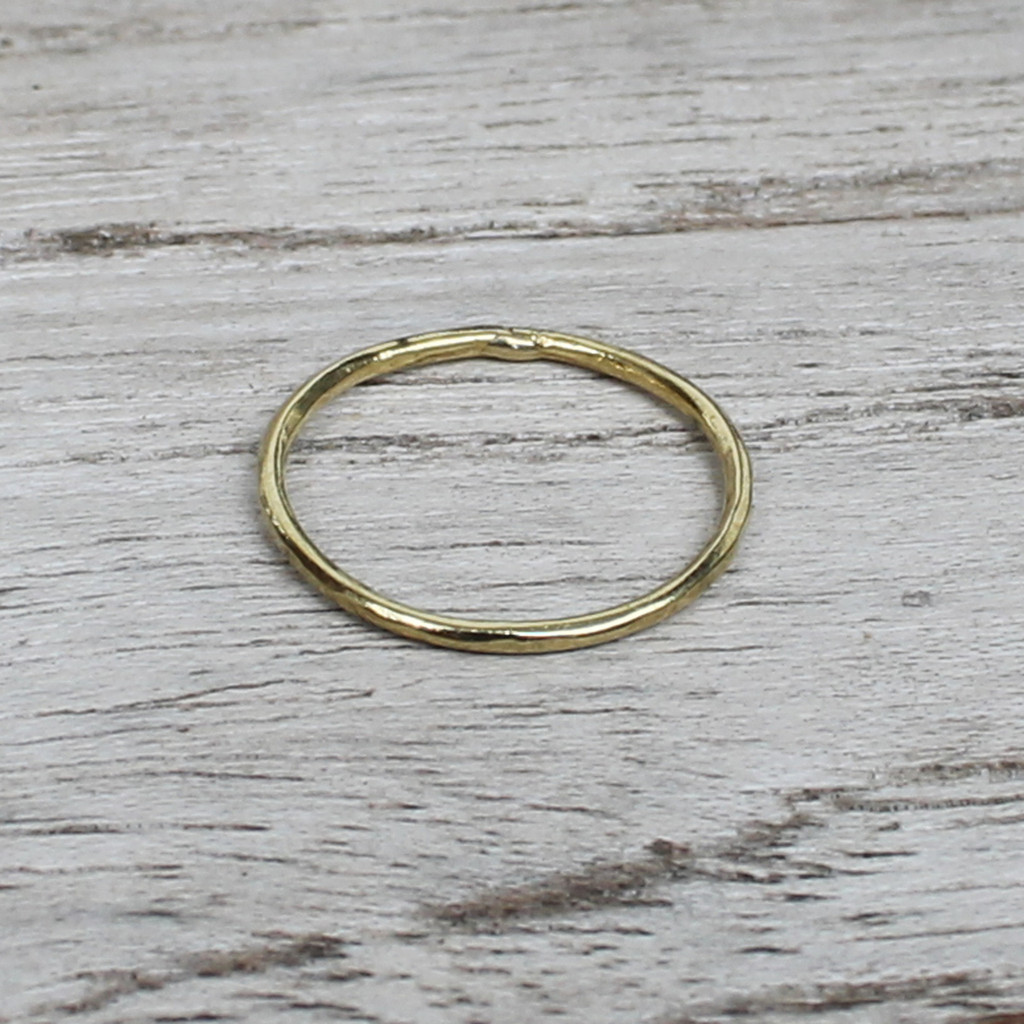 Thin stackable ring in 14 carat gold plated sterling silver