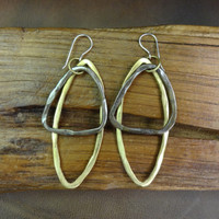 Brass drop earrings with sterling silver posts