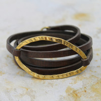 Thin chocolate brown leather multi wrap bracelet with brass detail and toggle closure