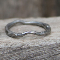 Oxidized sterling silver stacking ring