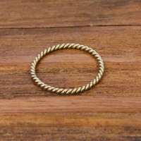 14 carat gold plated sterling silver stacking ring in twisted shape