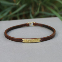 Chocolate leather bracelet with brass IMAGINE detail