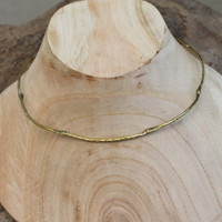 Feminine hinged brass collar necklace