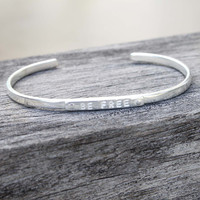 "Silver ""be free"" adjustable inspirational bracelet"