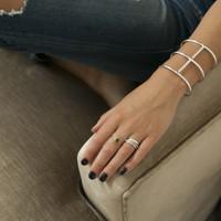 adjustable silver statement bracelet with black stones